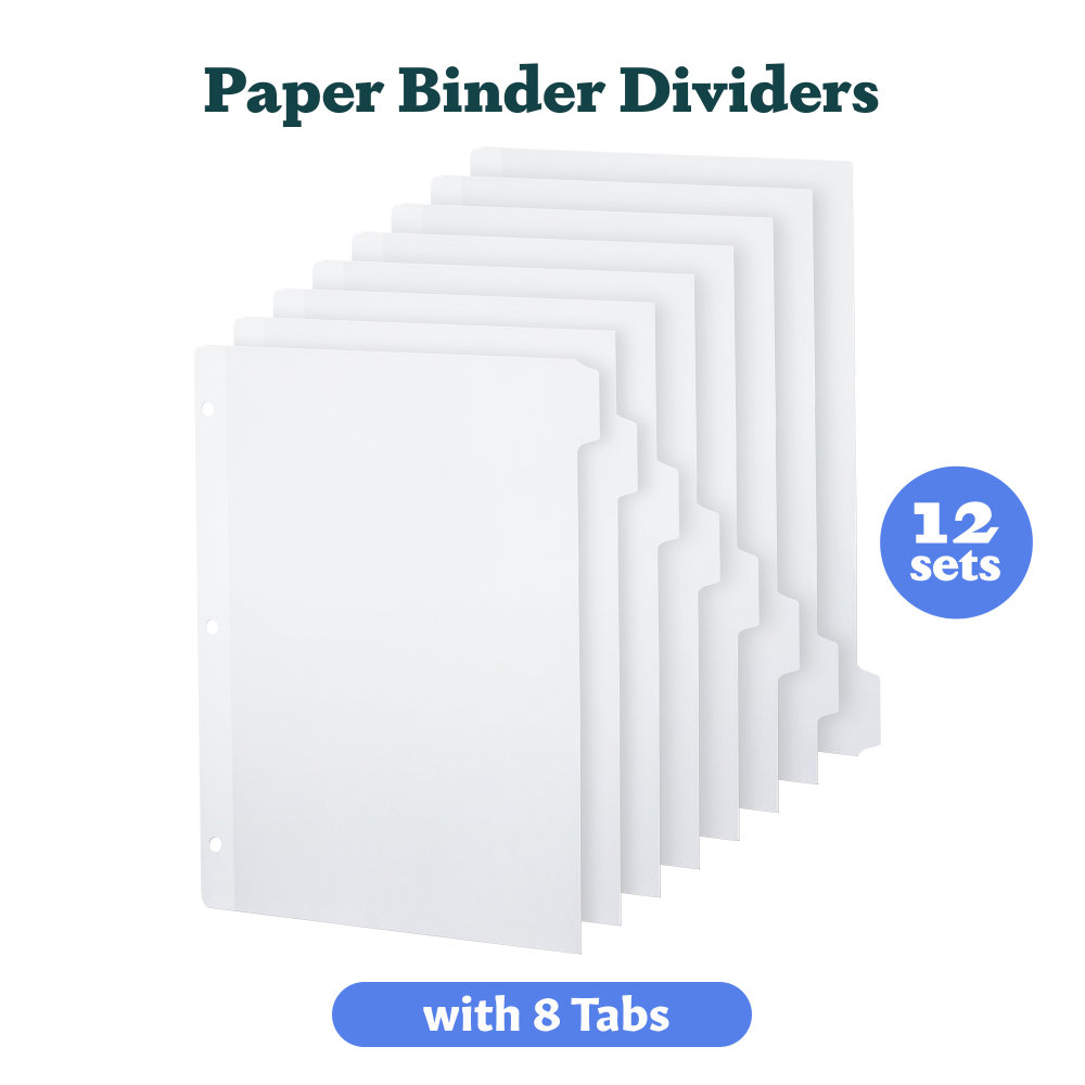 1 - White Binder Dividers 8 Tab