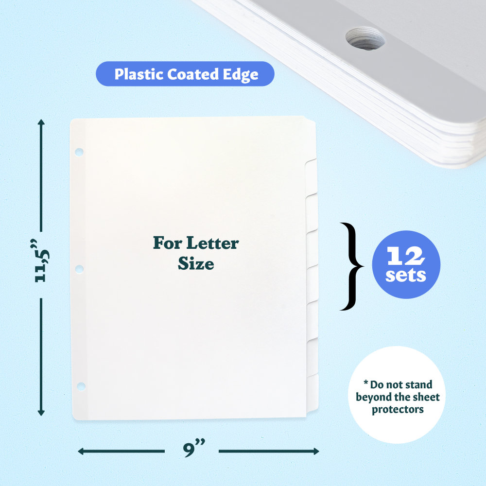 6 - White Binder Dividers 8 Tab